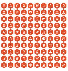 100 avatar icons hexagon orange vector