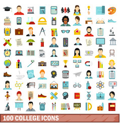 100 college icons set flat style vector image