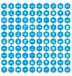 100 logistics icons set blue vector image vector image