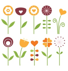 Retro cute spring flowers set isolated on white vector image