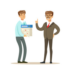 Businessman holding a lot of papers in his hands vector