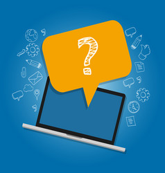 Question mark on laptop survey frequently asked vector