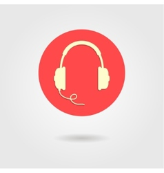 Headphones icon in red circle vector