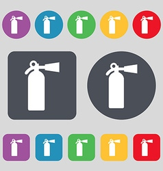 Extinguisher icon sign a set of 12 colored buttons vector