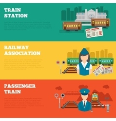 Set of railway banners vector