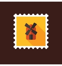Windmill flat stamp with long shadow vector