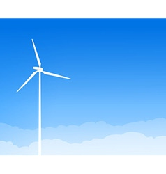 Eco wind turbine and blue sky vector