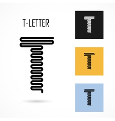 Creative t - letter icon abstract logo design vector