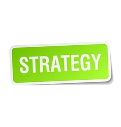 Strategy green square sticker on white background vector