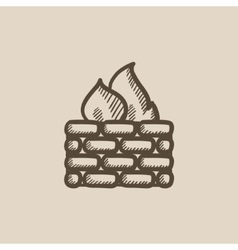 Firewall sketch icon vector