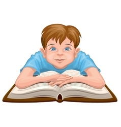 Boy reading book child sits in front of an open vector