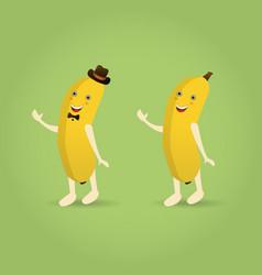 cartoon banana character vector image vector image