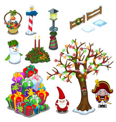christmas set of street decorations and gifts vector image vector image