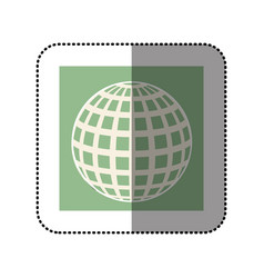 color sticker square with globe earth icon vector image vector image