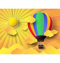 colurful hot air balloon with sunrise vector image vector image