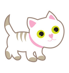 cute white cat with yellow eyes vector image