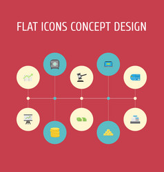 Flat icons computer small change payment and vector