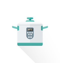 flat style white kitchen multicooker vector image vector image