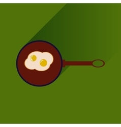Flat with shadow icon egg in frying pan vector
