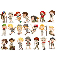 Girls and boys in camping costume vector image
