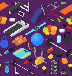 gym exercise equipment background pattern vector image