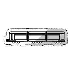 Locomotive train transport passenger cut line vector