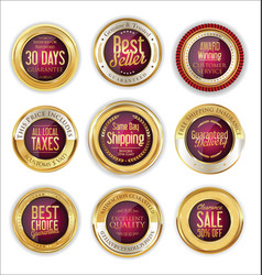 luxury golden badges collection 3 vector image vector image