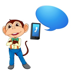 Monkey with cell phone vector