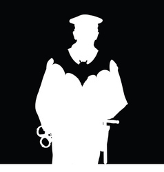 Policeman with bat silhouette vector