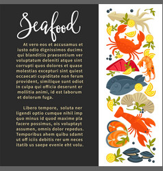 seafood poster of fresh fish sea food catch vector image