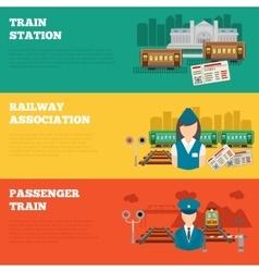 Set of railway banners vector
