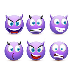 Smiley with blue eyesemoticon set violet face vector
