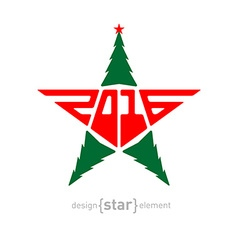 The Merry Christmas star with green pine and new vector image