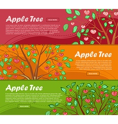 Three colorful banners with apple tree and place vector image