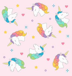 Unicorn head seamless pattern colorful on pink vector