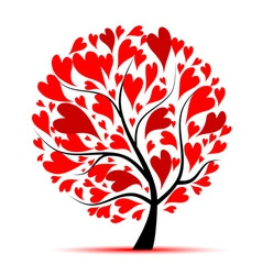 Valentine tree love leaf from hearts vector image