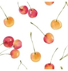 Watercolor cherries seamless pattern vector