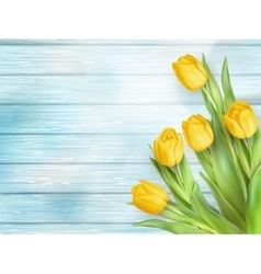 Yellow tulips flowers on wooden planks EPS 10 vector image vector image