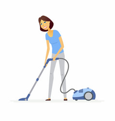 Young woman with a vacuum cleaner - cartoon people vector
