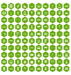 100 city icons hexagon green vector