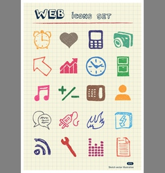 Internet and media icons set vector