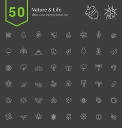 Nature and life thin icon set vector