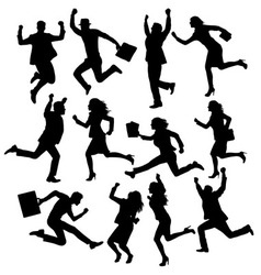Happy business activity silhouettes vector