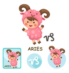 Aries collection zodiac signs vector