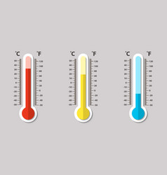 icons of celsius and fahrenheit meteorology vector image