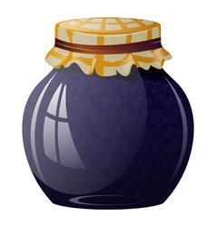 Glass jar with blueberry jam vector image