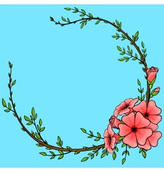 Vintage background with cartoon flower wreath vector image