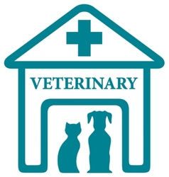 Veterinary icon with home and pets vector