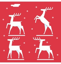 White deer silhouette logo icon new year symbol vector