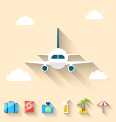 Flat set icons of planning summer vacation simple vector